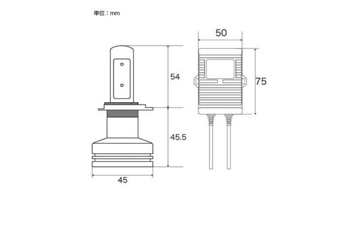 LEDヘッドライト寸法